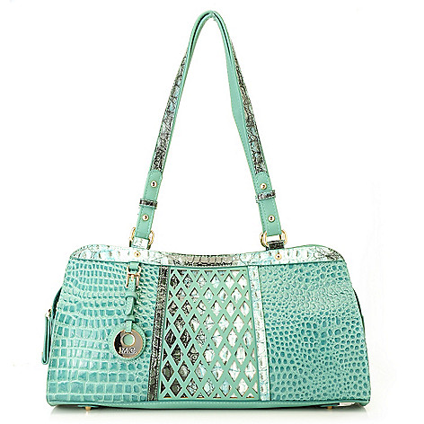 715-634 - Madi Claire Croco Embossed Leather Zip Top Lattice Design Satchel