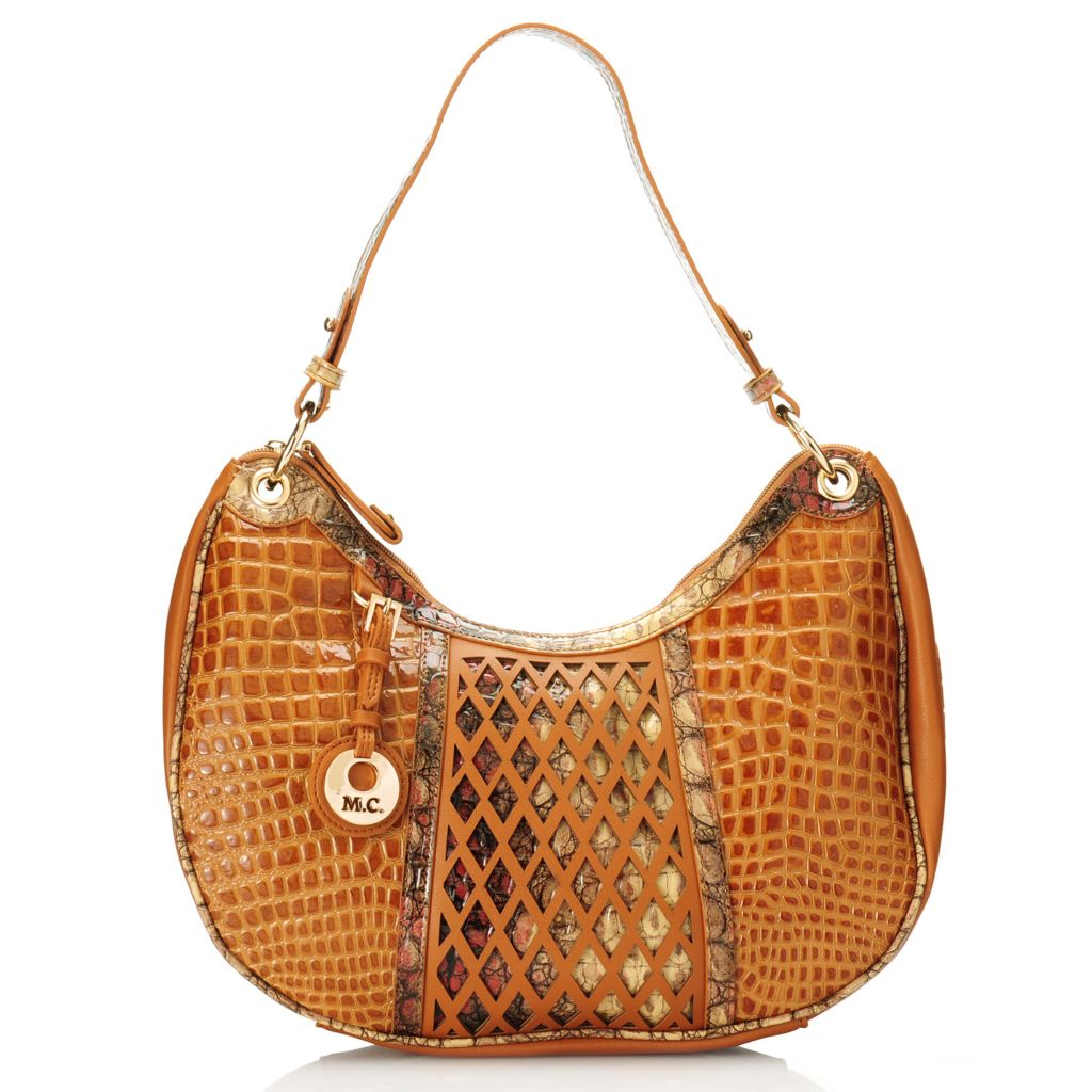 715-635 - Madi Claire Croco Embossed Leather Zip Top Lattice Design Hobo Handbag