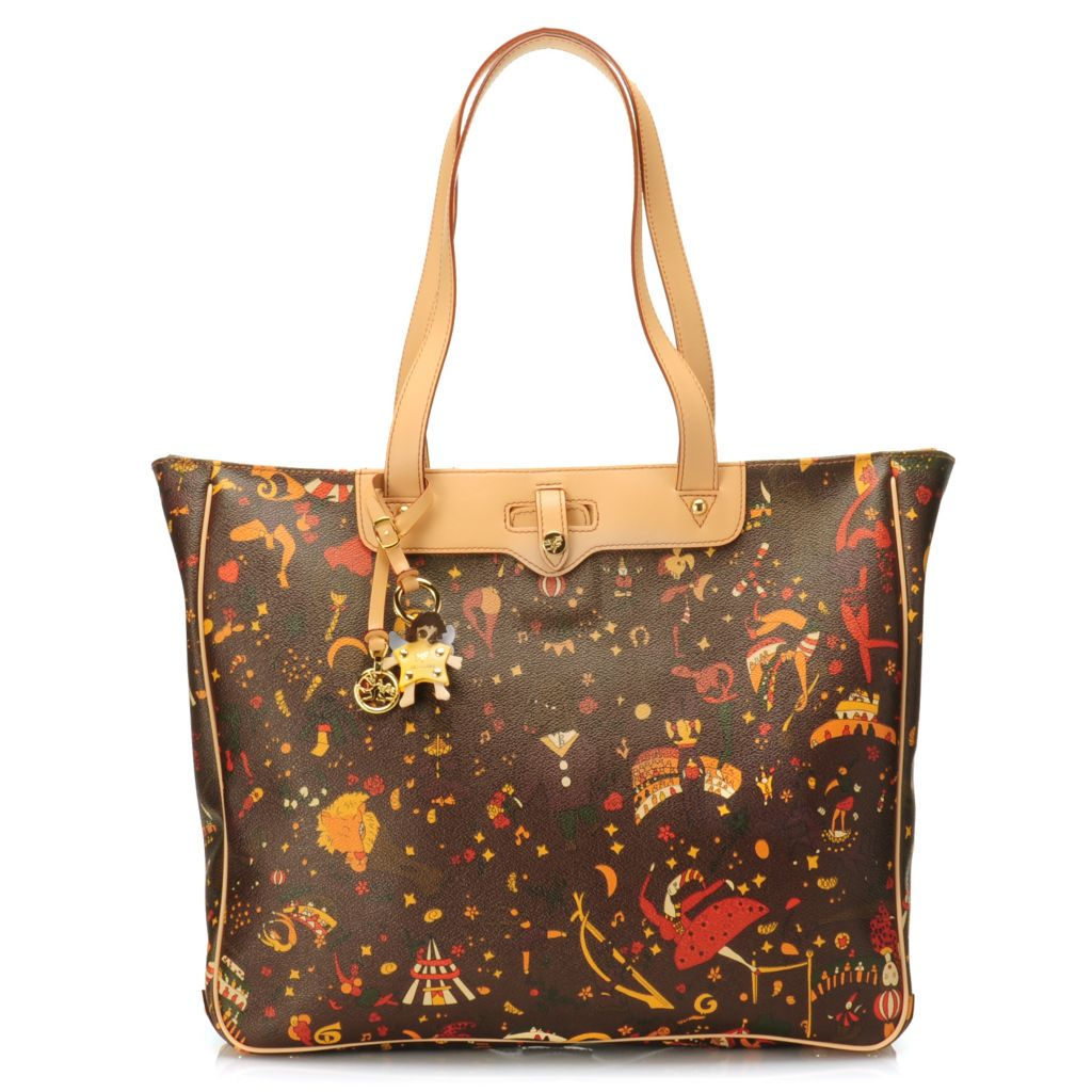715-637 - Piero Guidi Coated Canvas Magic Circus Collection Zip Top Shopper Tote Bag