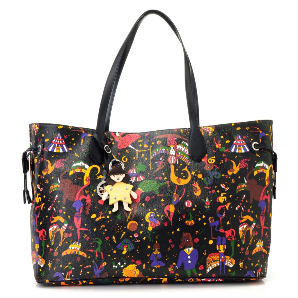 715-639 - Piero Guidi Coated Canvas Magic Circus Drawstring Sides Shopper Tote Bag