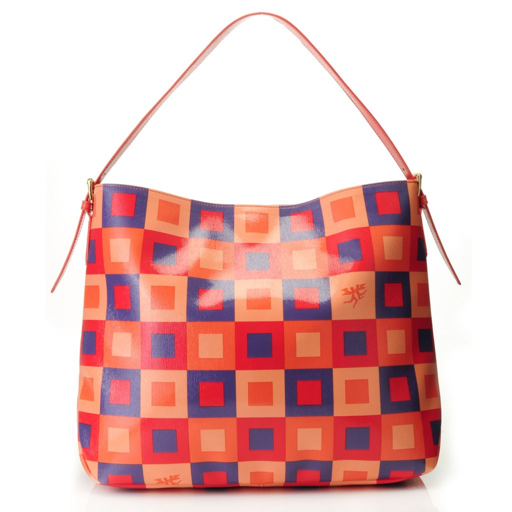 715-640 - Piero Guidi Funny Piper Collection Coated Canvas Square Pattern Hobo Handbag
