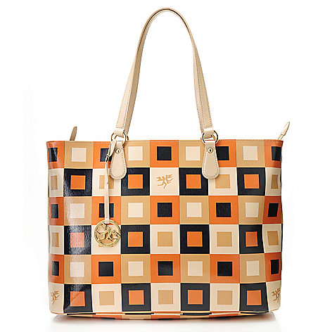 715-641 - Piero Guidi Funny Piper Collection Coated Canvas Square Pattern Zip Top Tote Bag