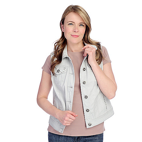 715-642 - Glitterscape Stretch Denim Button Front Rhinestone Detailed Vest