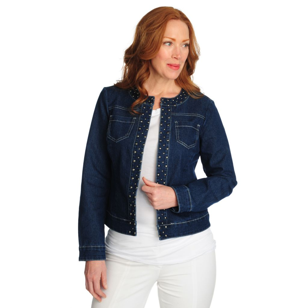 715-644 - Glitterscape Stretch Denim Long Sleeved Collarless Studded Jacket