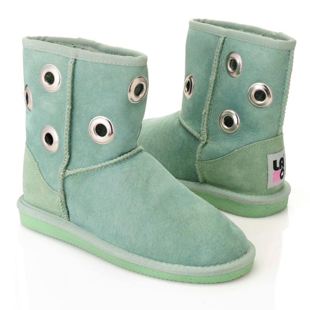 715-645 - Lamo® Sheepskin Grommet Detailed Short Boots