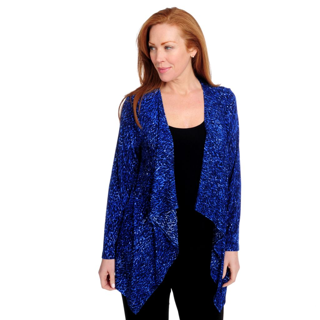 715-656 - Affinity for Knits™ Long Sleeved Cascade Front Printed Cardigan