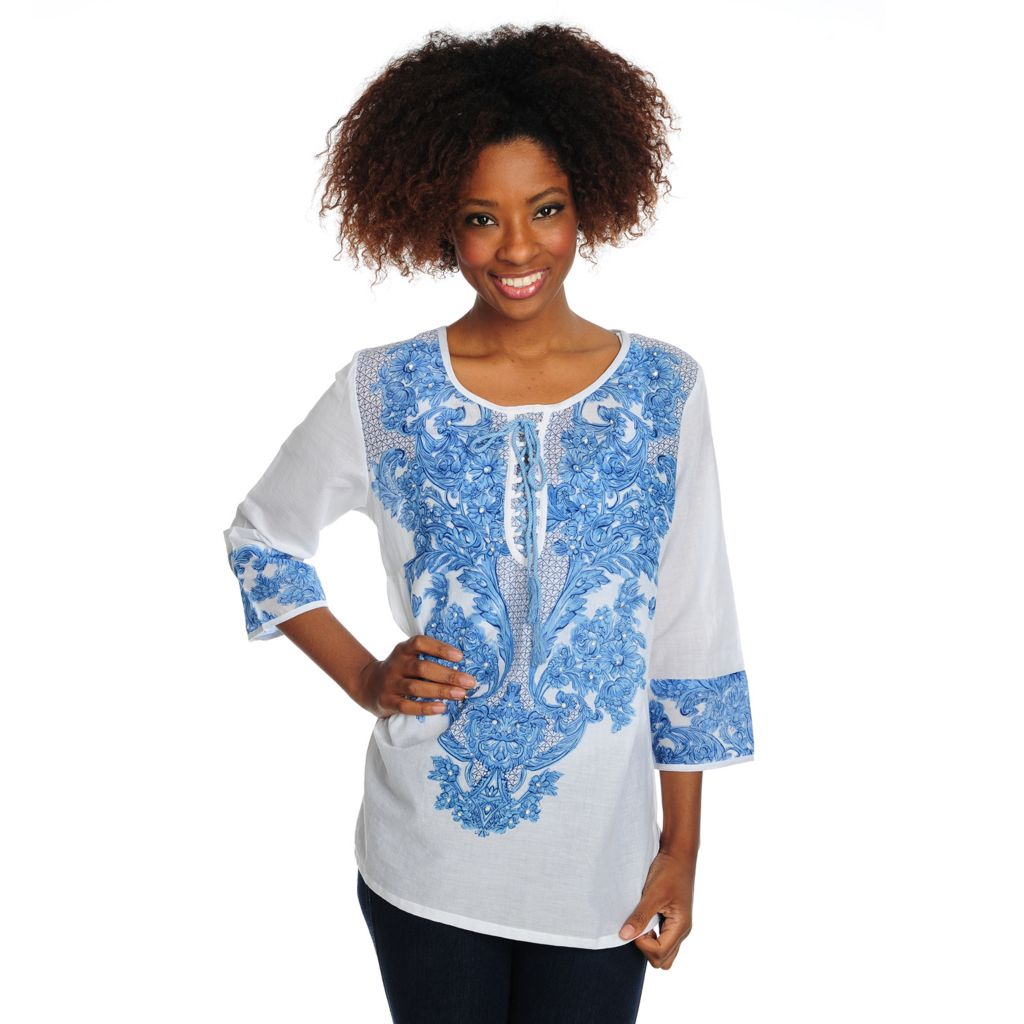 715-666 - OSO Casuals Cotton 3/4 Sleeve Lace-up Detailed Printed Tunic