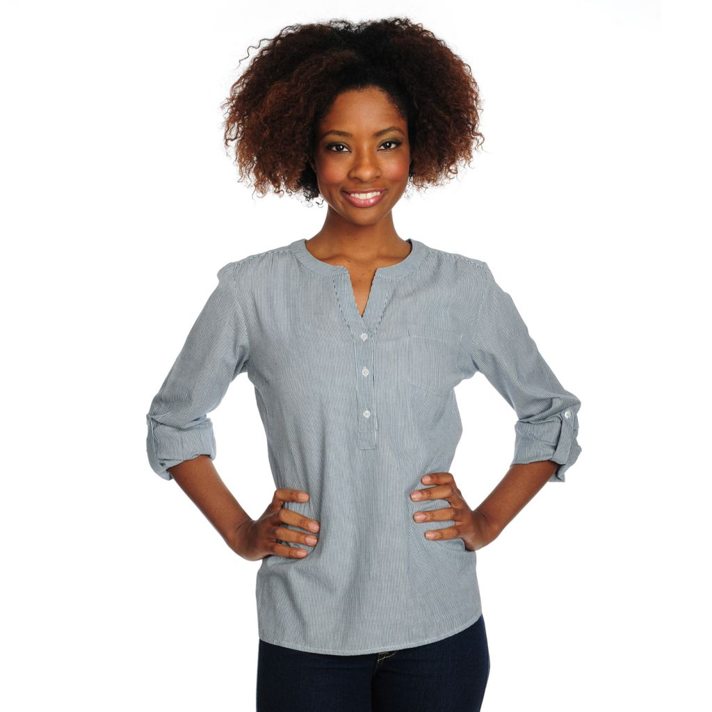 715-667 - OSO Casuals Cotton Woven Roll Tab Sleeved Three-Button Collarless Top