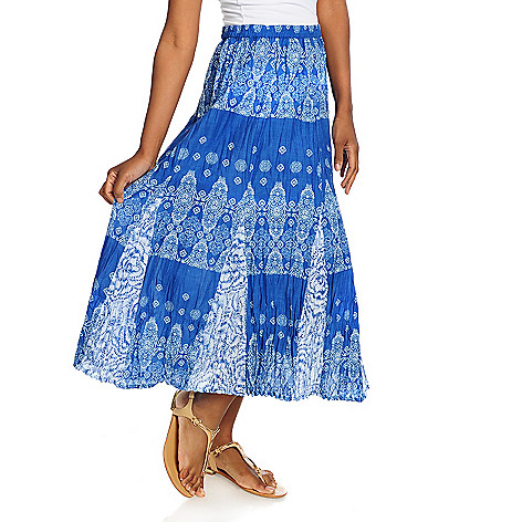 715-669 - OSO Casuals™ Cotton Woven Elastic Waist Twin Print Godet Maxi Skirt