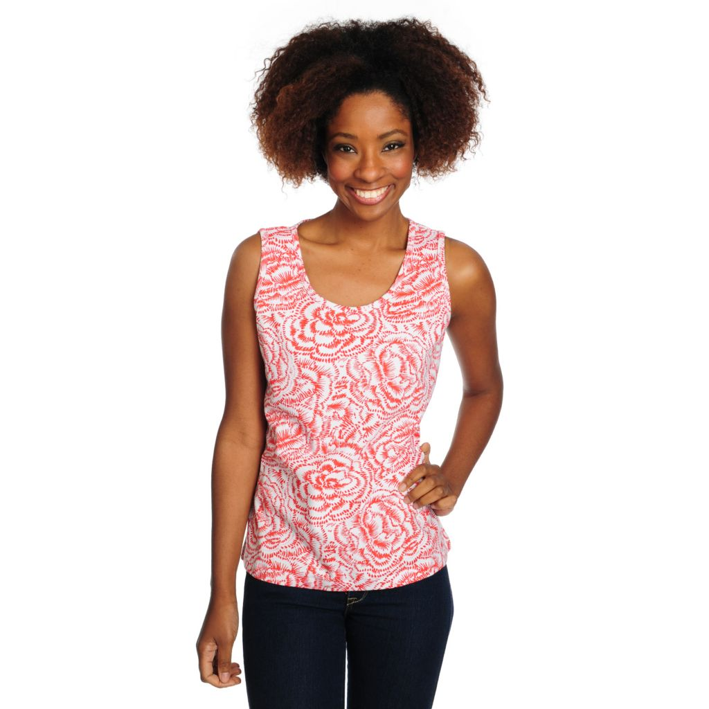 715-670 - OSO Casuals Stretch Knit Scoop Neck Printed Tank