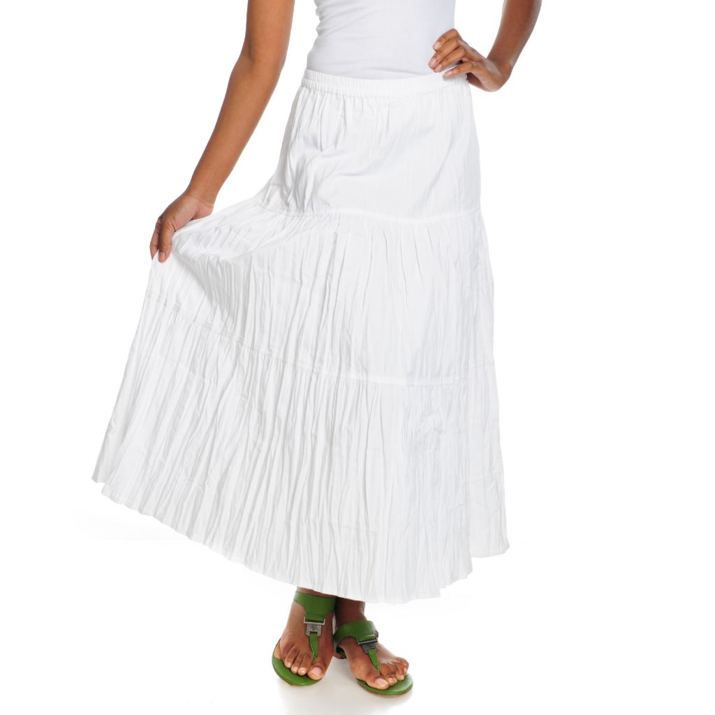 715-671 - OSO Casuals Twill Elastic Waist Three-Tiered Skirt