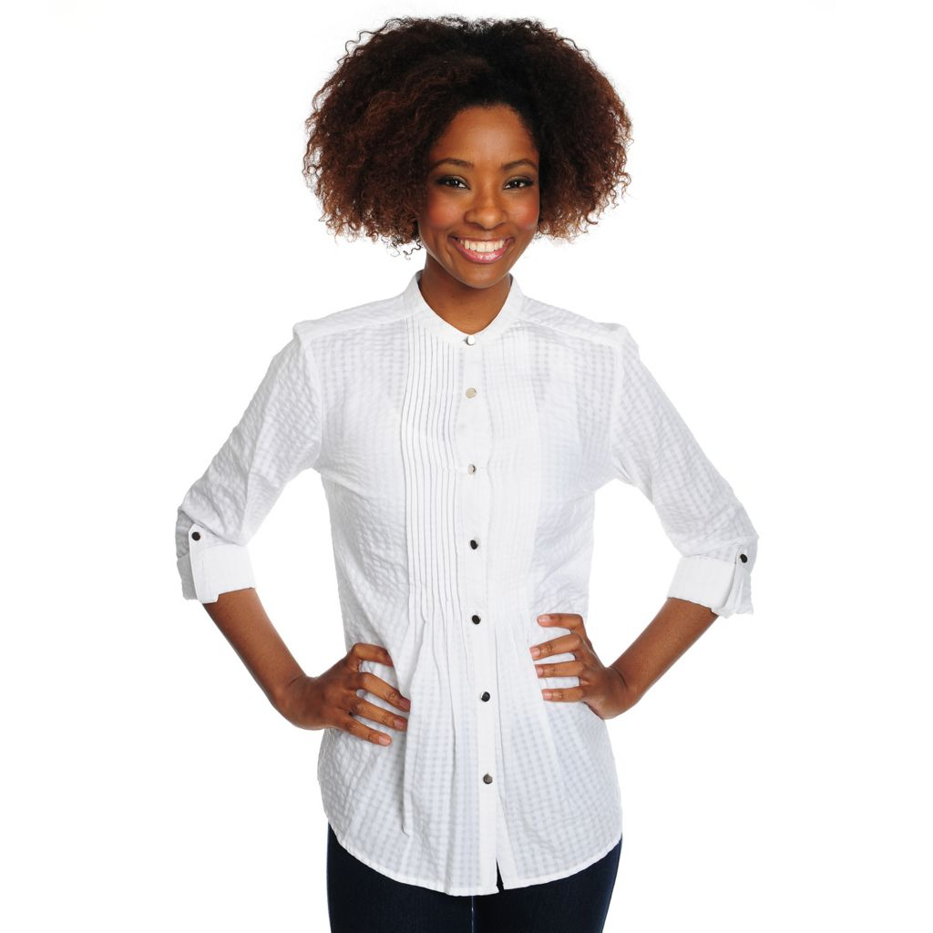 715-672 - OSO Casuals Textured Woven Roll Tab Sleeved Pintuck Detailed Button Front Top