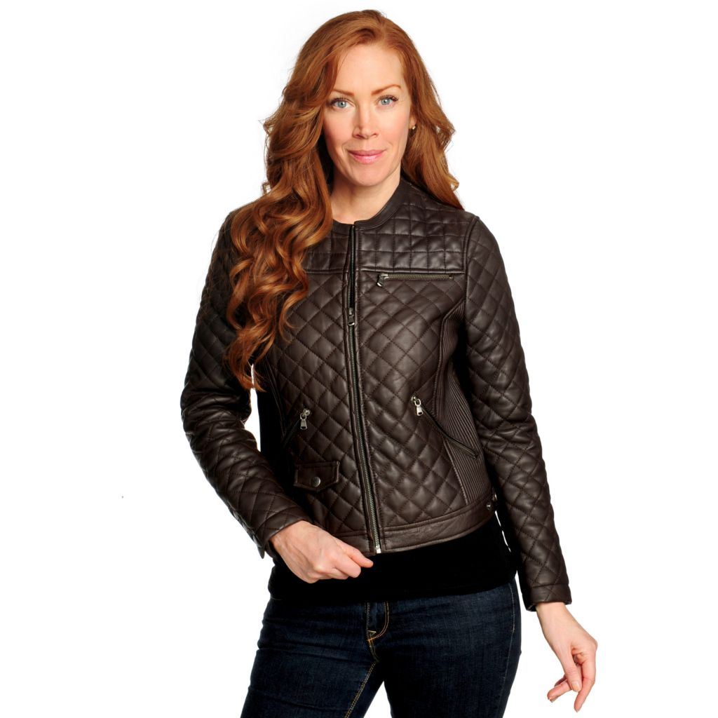 715-691 - Excelled Quilted Lamb Leather Collarless Zip Front Jacket