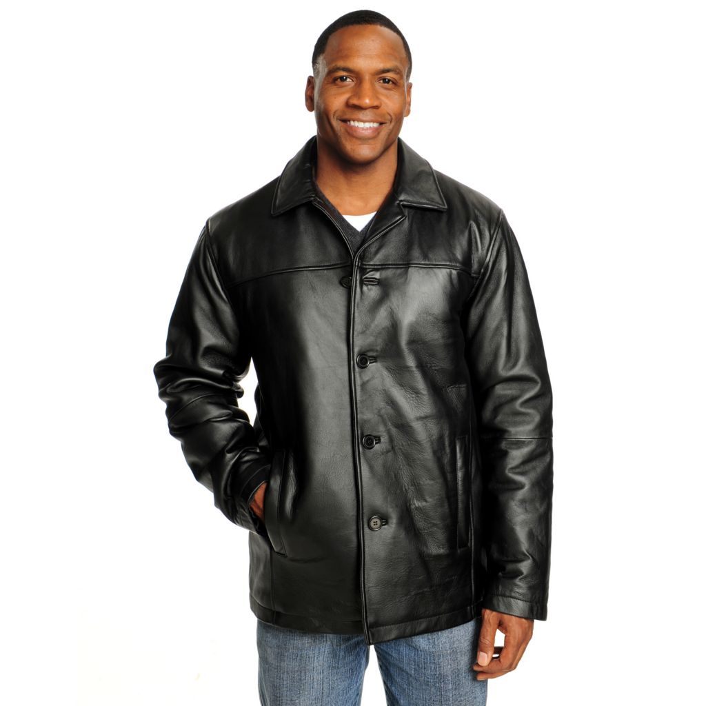 715-694 - Excelled Men's Lamb Leather Notch Collar Button Front Car Coat