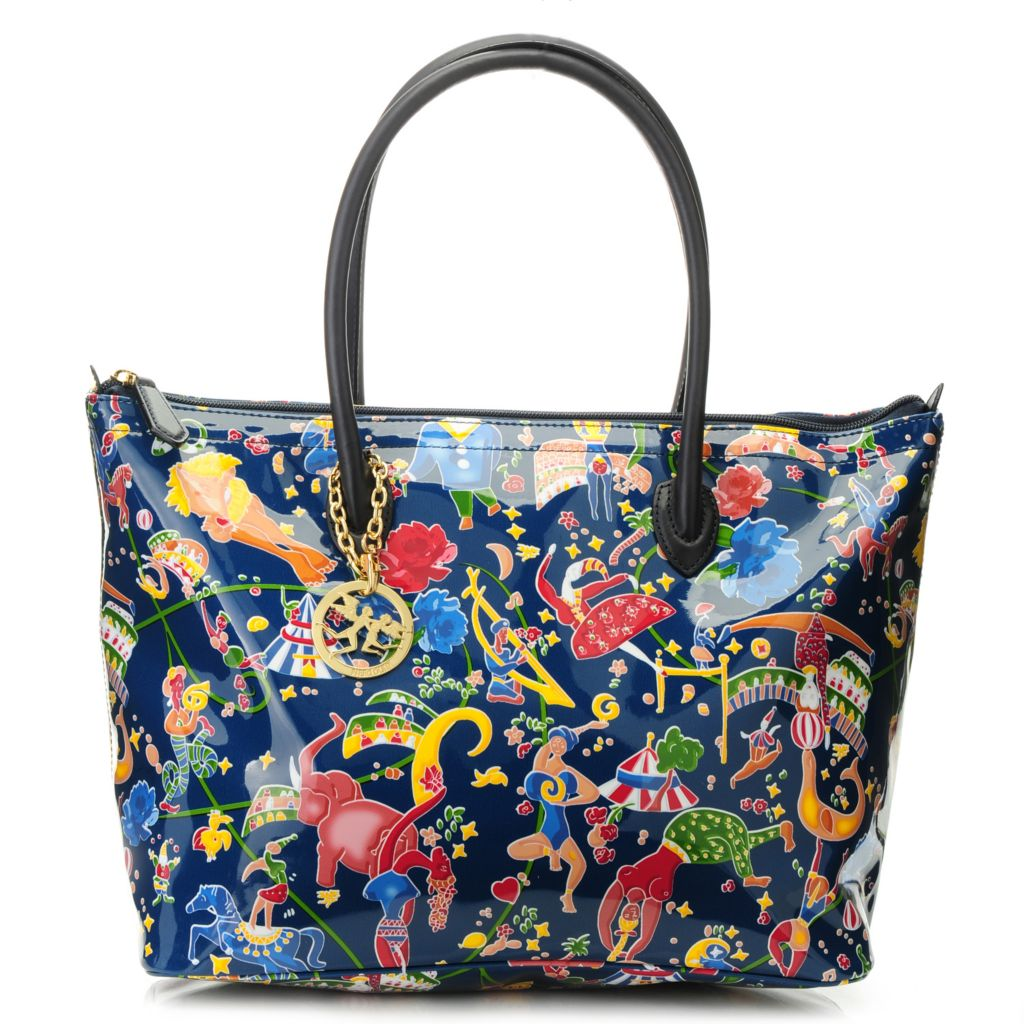 715-698 - Piero Guidi Coated Canvas Magic Circus Flowers Collection Zip Top Tote Bag