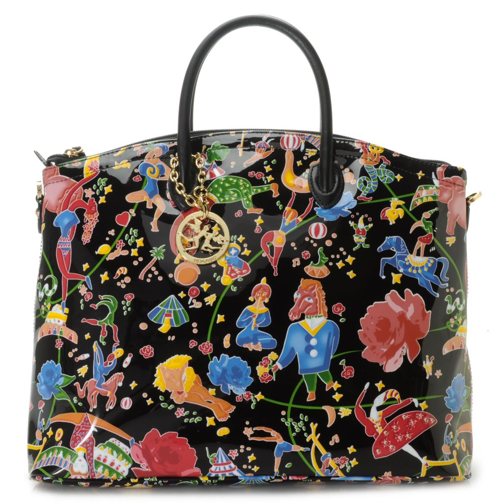715-699 - Piero Guidi Coated Canvas Magic Circus Flowers Collection Handbag w/ Strap