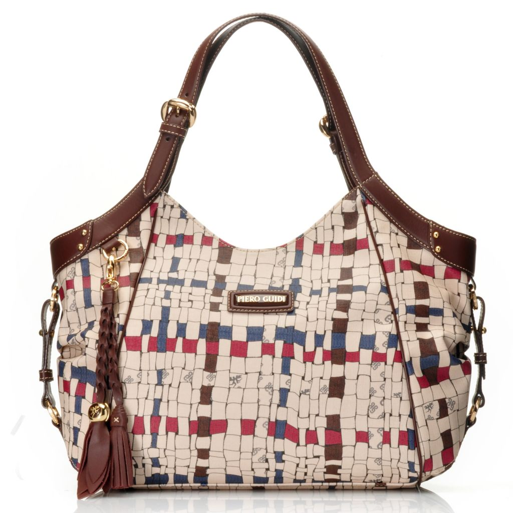 715-700 - Piero Guidi Coated Canvas Intreccio Art Collection Zip Top Hobo Handbag