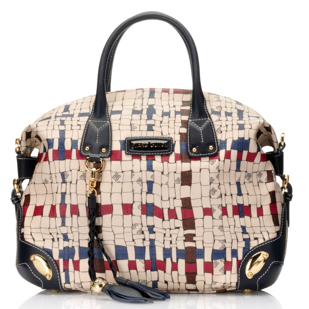 715-702 - Piero Guidi Coated Canvas Intreccio Art Collection Zip Top Satchel w/ Strap