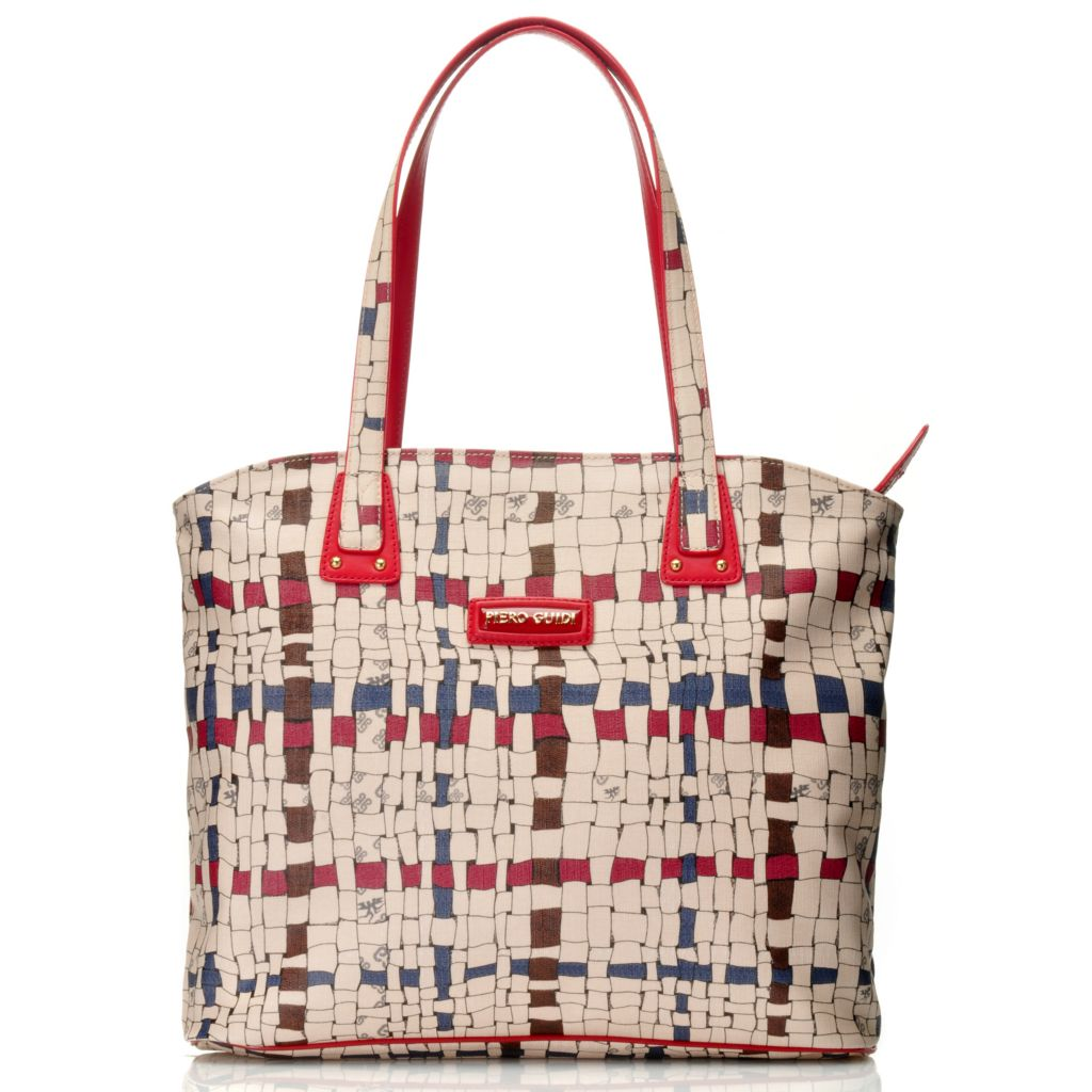 715-704 - Piero Guidi Coated Canvas Intreccio Art Collection Zip Top Shopper Tote Bag