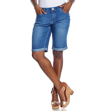 715-709 - OSO Casuals Stretch Denim Elastic Waist Rolled Cuff Bermuda Shorts
