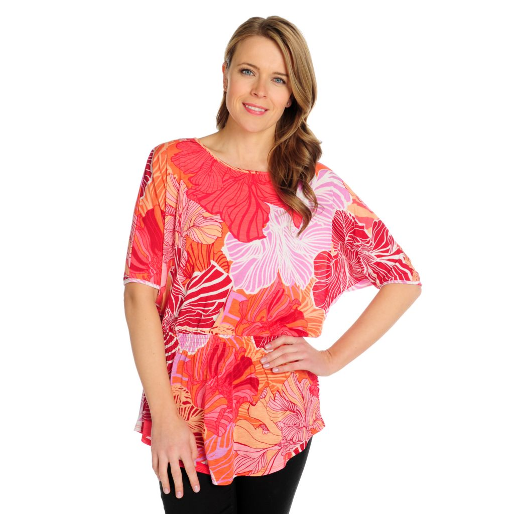 715-738 - Kate & Mallory Printed Knit Dolman Sleeved Elastic Waist Top