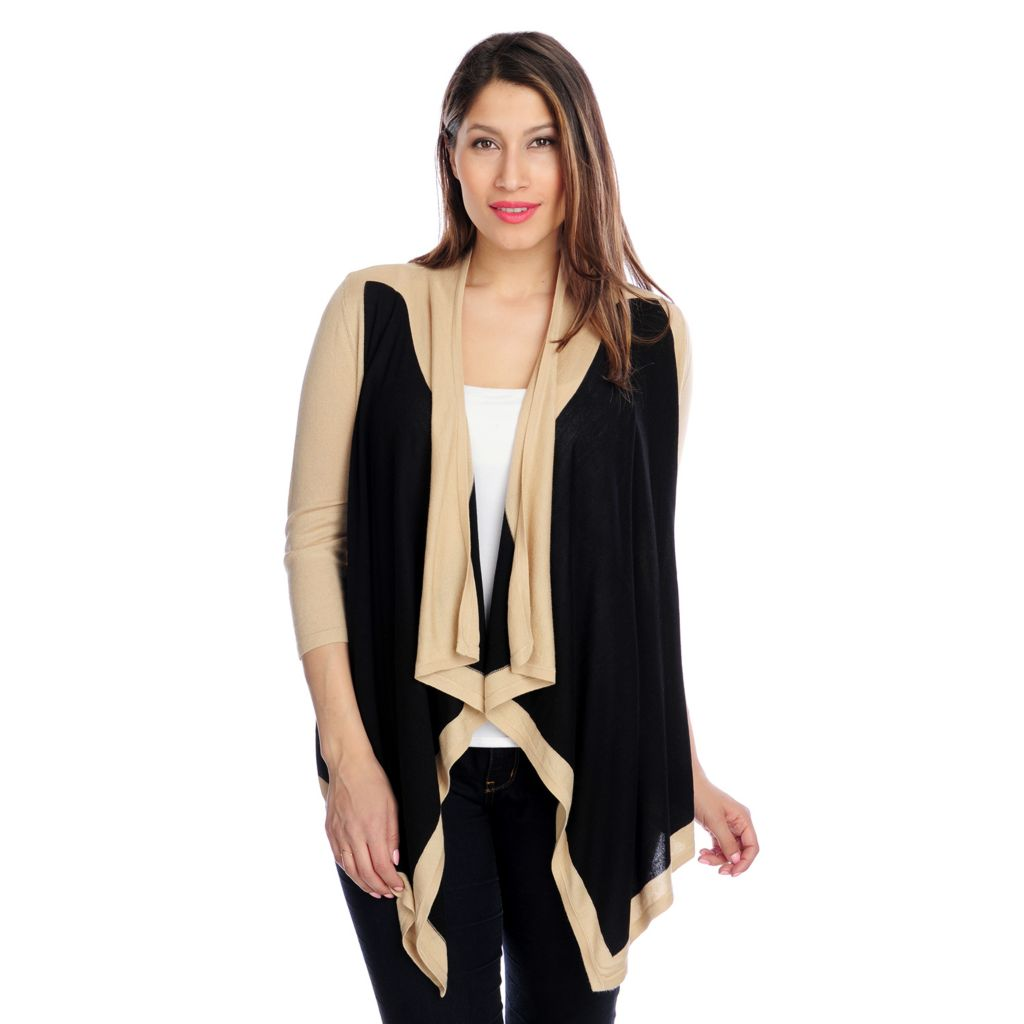 715-739 - Kate & Mallory Fine Gauge Knit 3/4 Sleeved Color Block Cascade Cardigan
