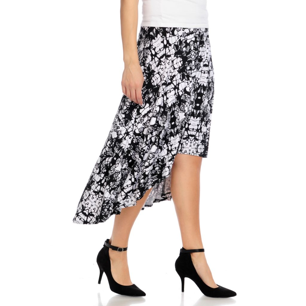 715-758 - Kate & Mallory Stretch Knit Elastic Waist Hi-Lo Hem Printed Skirt