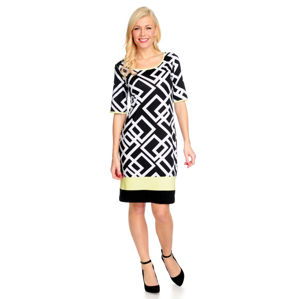 715-760 - Kate & Mallory Stretch Knit Elbow Sleeved Boat Neck Printed Dress