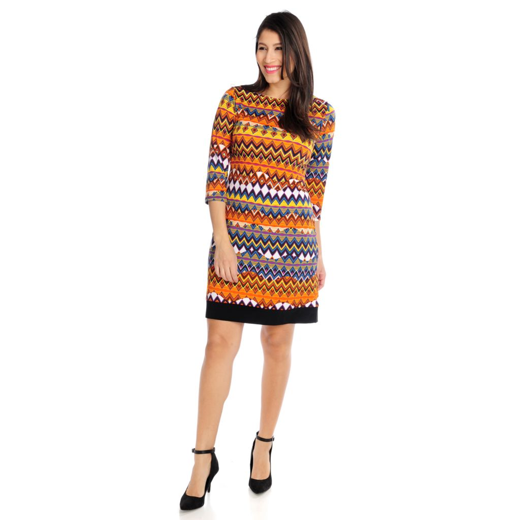 715-761 - Kate & Mallory Stretch Knit 3/4 Sleeved Printed Shift Dress