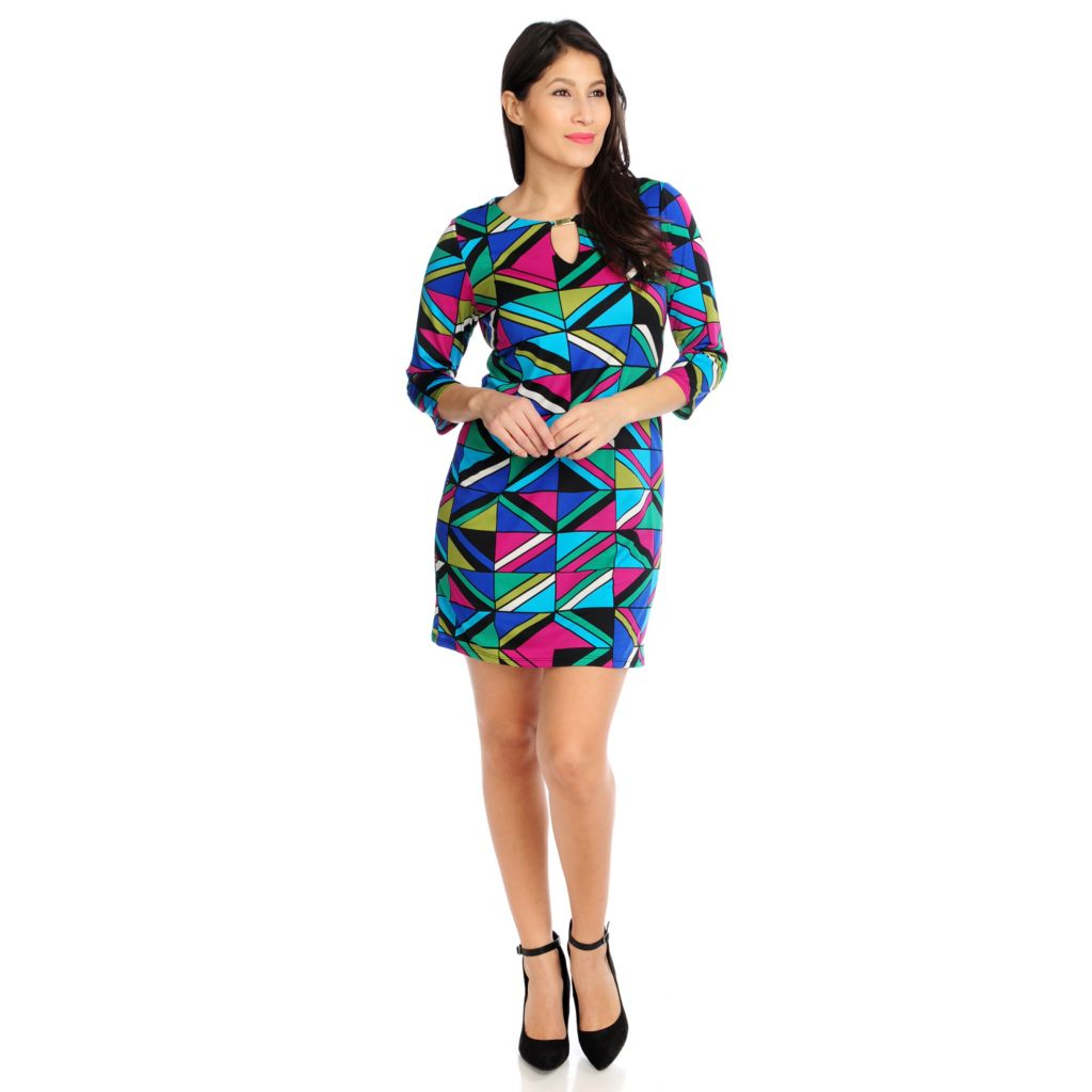 715-762 - Kate & Mallory Stretch Knit 3/4 Sleeved Keyhole Neckline Printed Dress