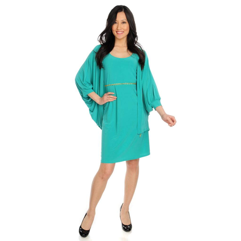 715-765 - Love, Carson by Carson Kressley Stretch Knit Belted Dress & Cardigan Set