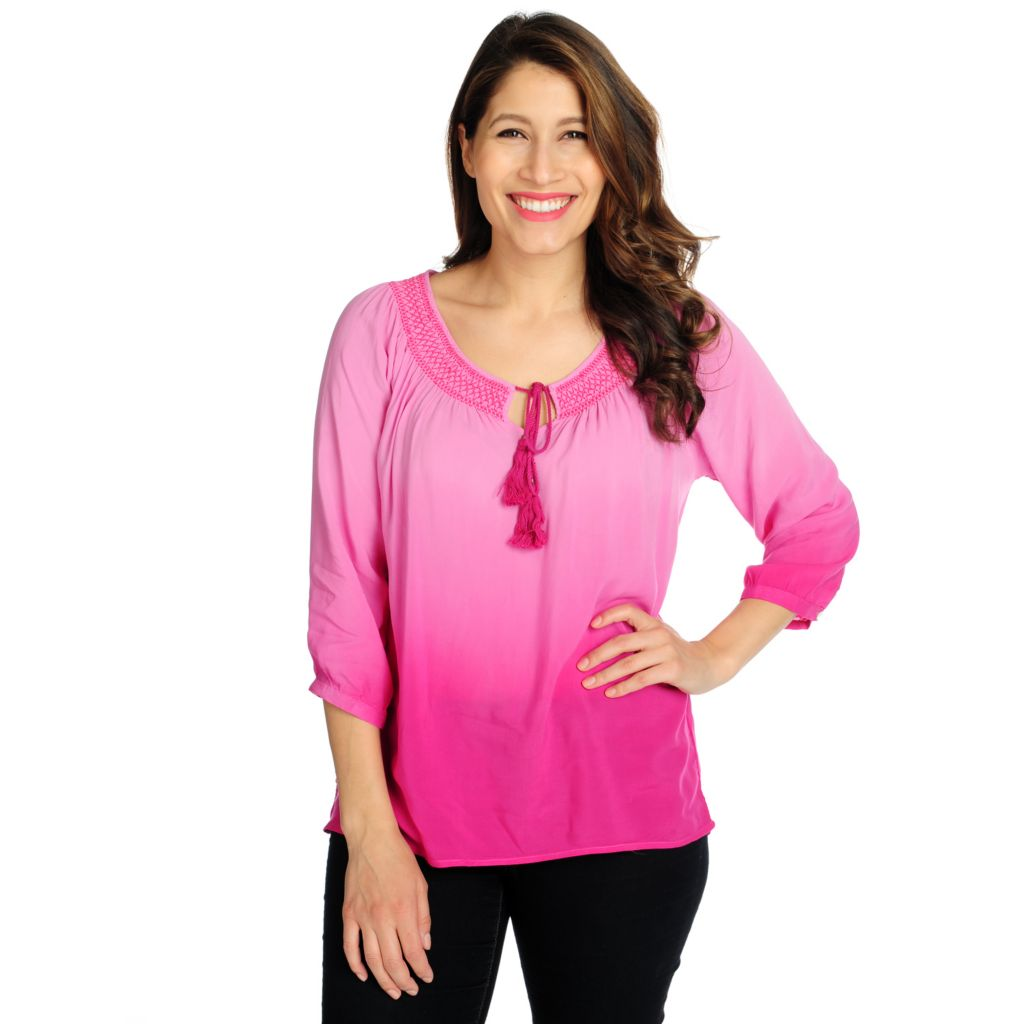 715-769 - One World Challis 3/4 Sleeved Keyhole Neck Ombre Peasant Top