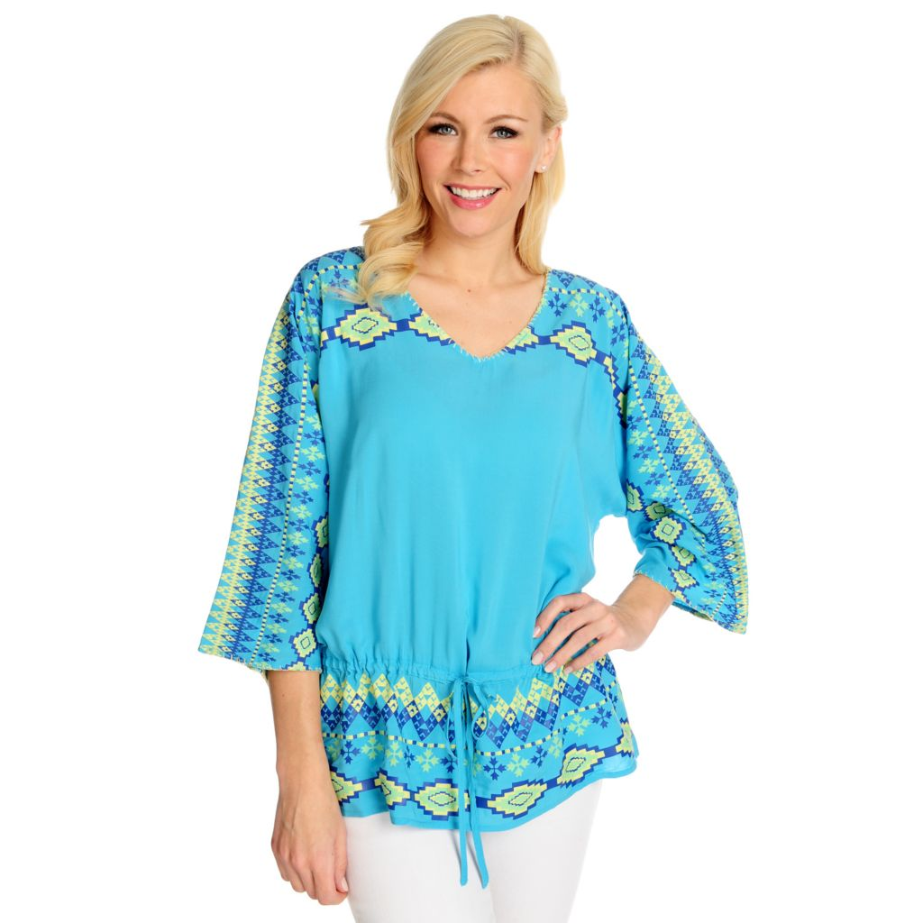 715-770 - One World Challis Dolman Sleeved Printed Tie-Waist Top