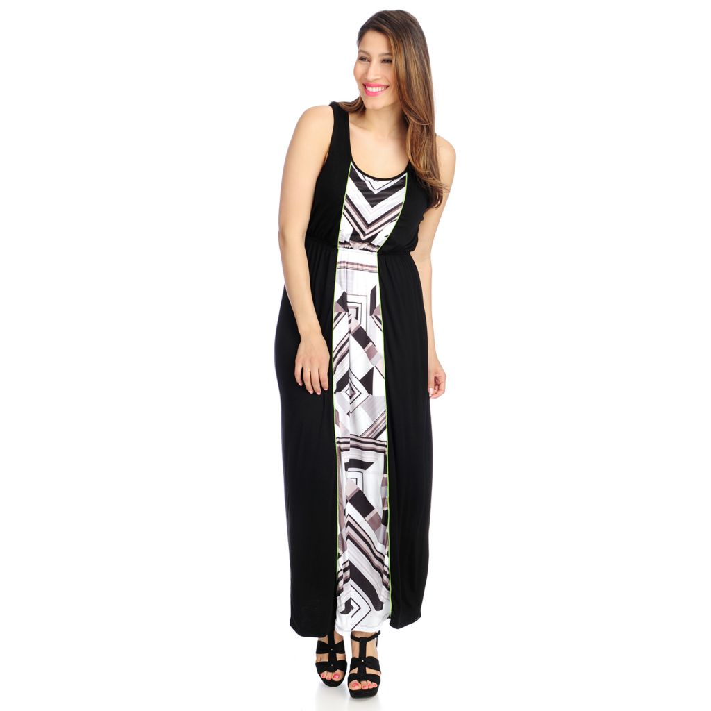 715-779 - One World Stretch Knit Sleeveless Printed Panel Maxi Dress