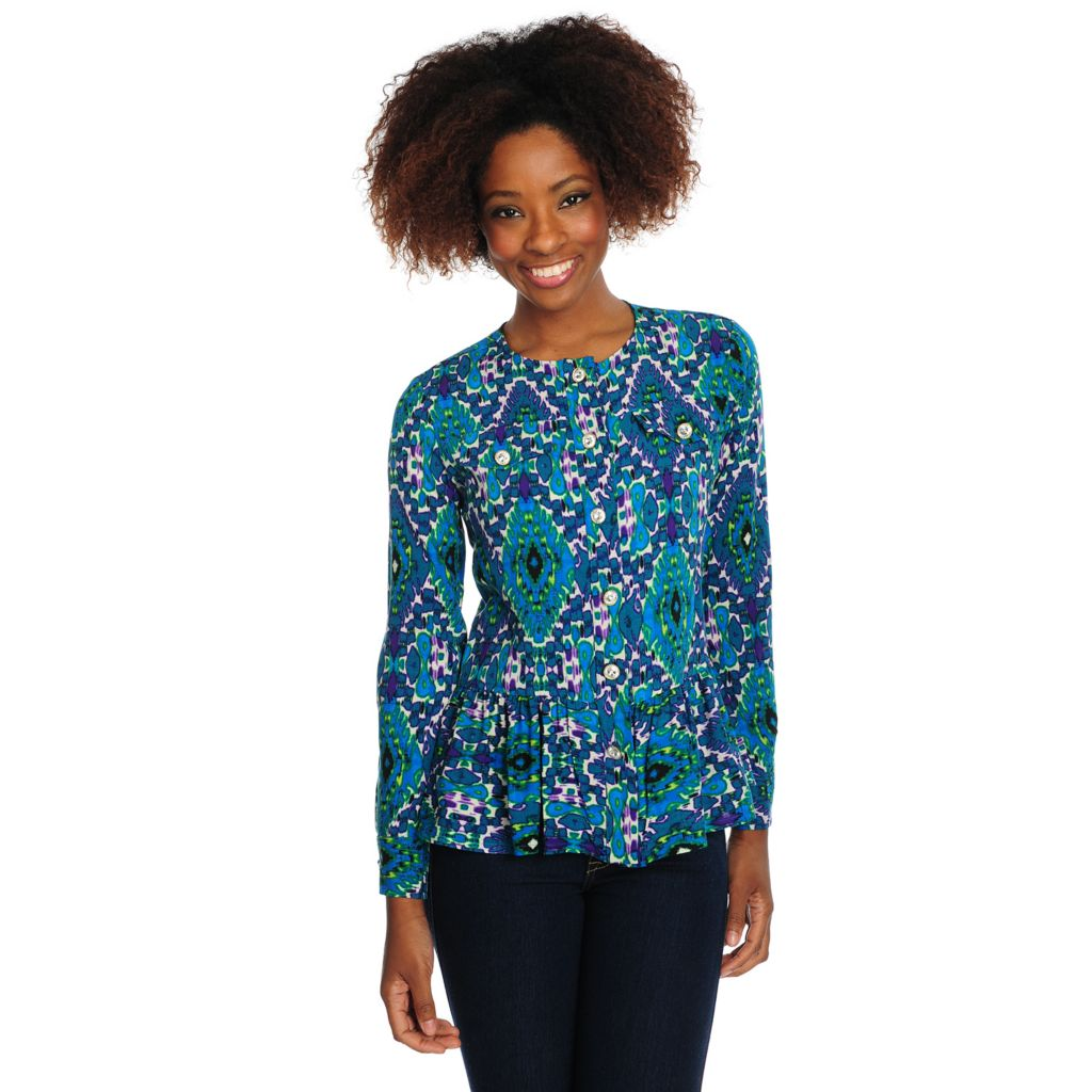 715-787 - Love, Carson by Carson Kressley Printed Woven Long Sleeved Button Front Top