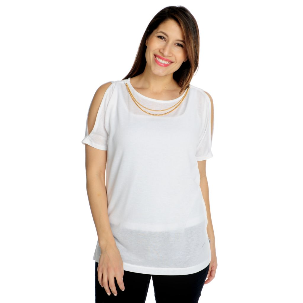 715-789 - Love, Carson by Carson Kressley Sweater Knit Cold Shoulder Chain Top & Tank