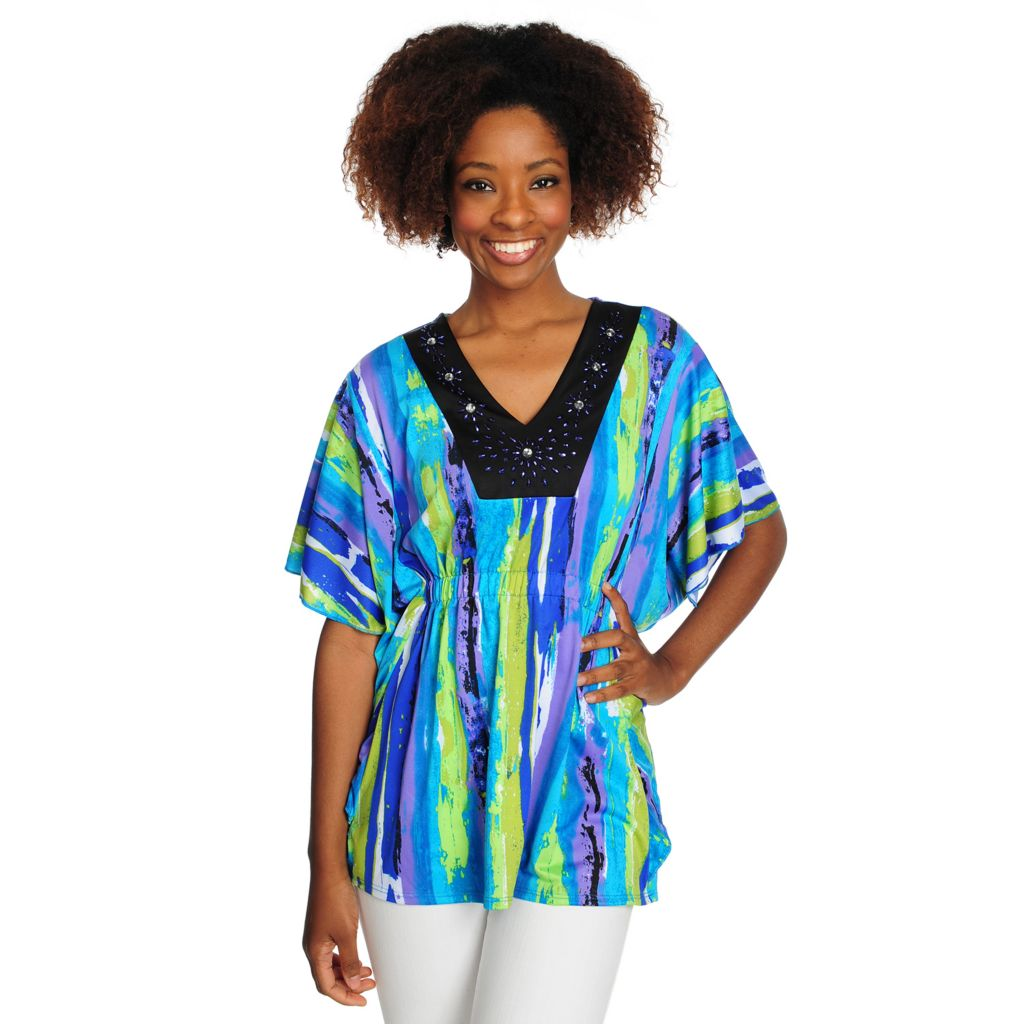 715-797 - Love, Carson by Carson Kressley Printed Knit Poncho Sleeved Embellished Top