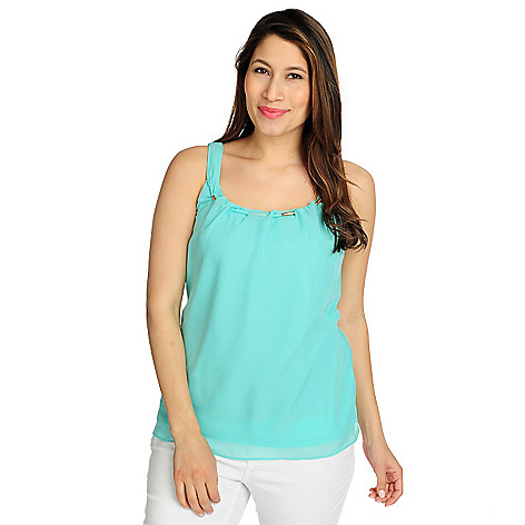 715-798 - Love, Carson by Carson Kressley Crinkled Yoryu Hardware Detail Overlay Tank Top