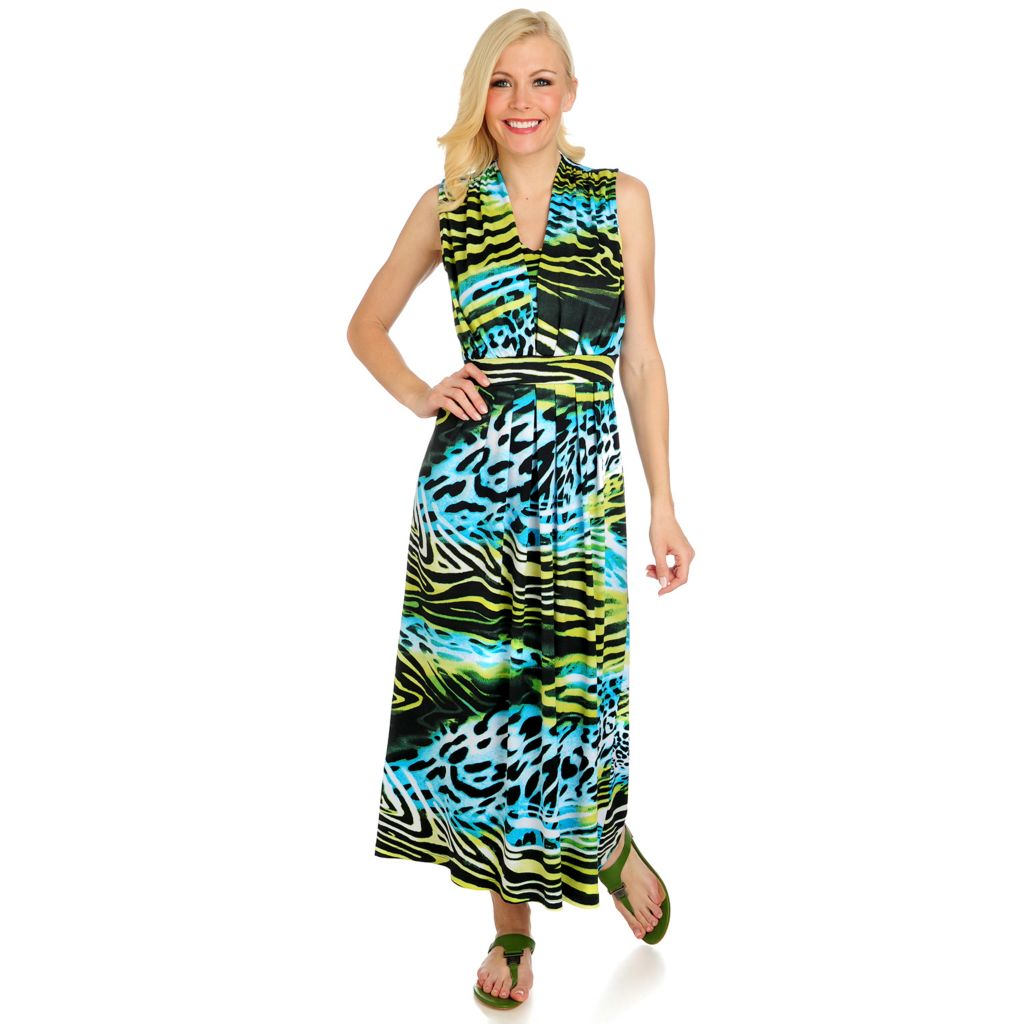 715-800 - Love, Carson by Carson Kressley Stretch Knit Sleeveless Printed Maxi Dress