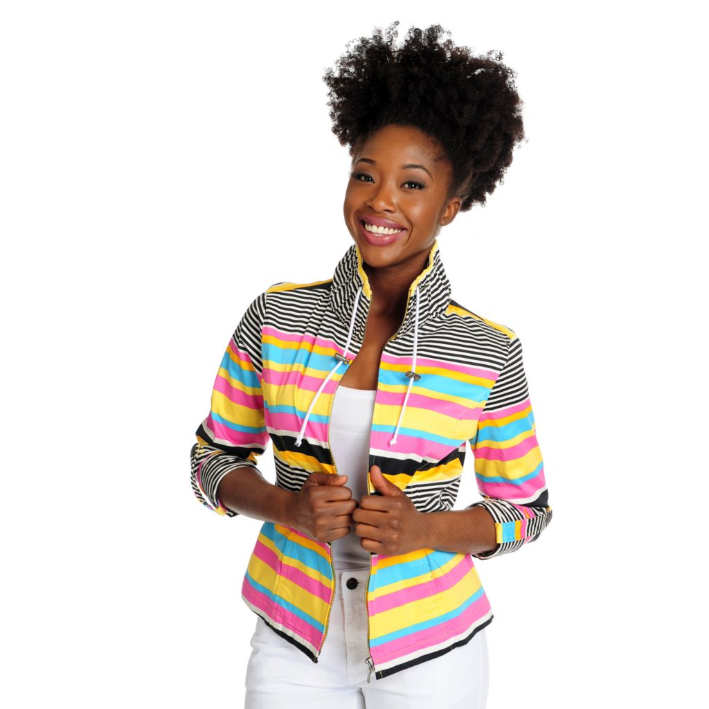 715-812 - OSO Casuals Striped Woven Roll Tab Sleeved Stand Collar Zip Front Jacket