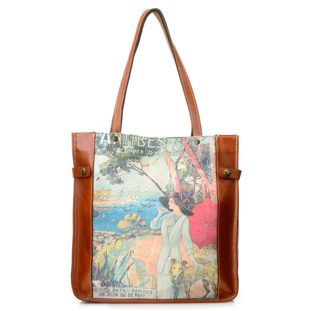 715-813 - Patricia Nash Canvas & Leather Double Handle Vintage-Style Tote Bag