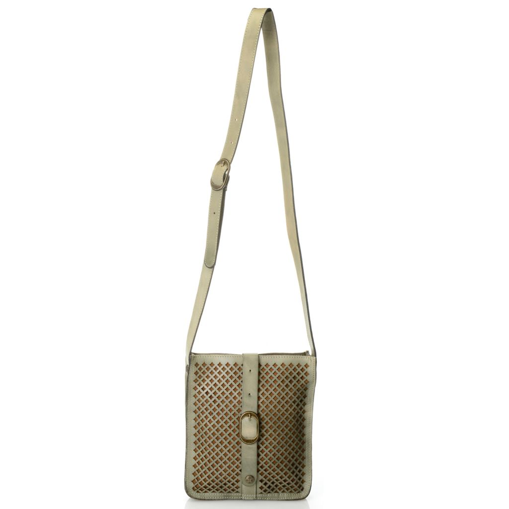715-815 - Patricia Nash Laser Cut Leather Buckle Detailed Cross Body Bag