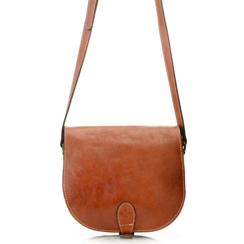 715-817 - Patricia Nash Leather Flap-over Buckle Detailed Cross Body Bag