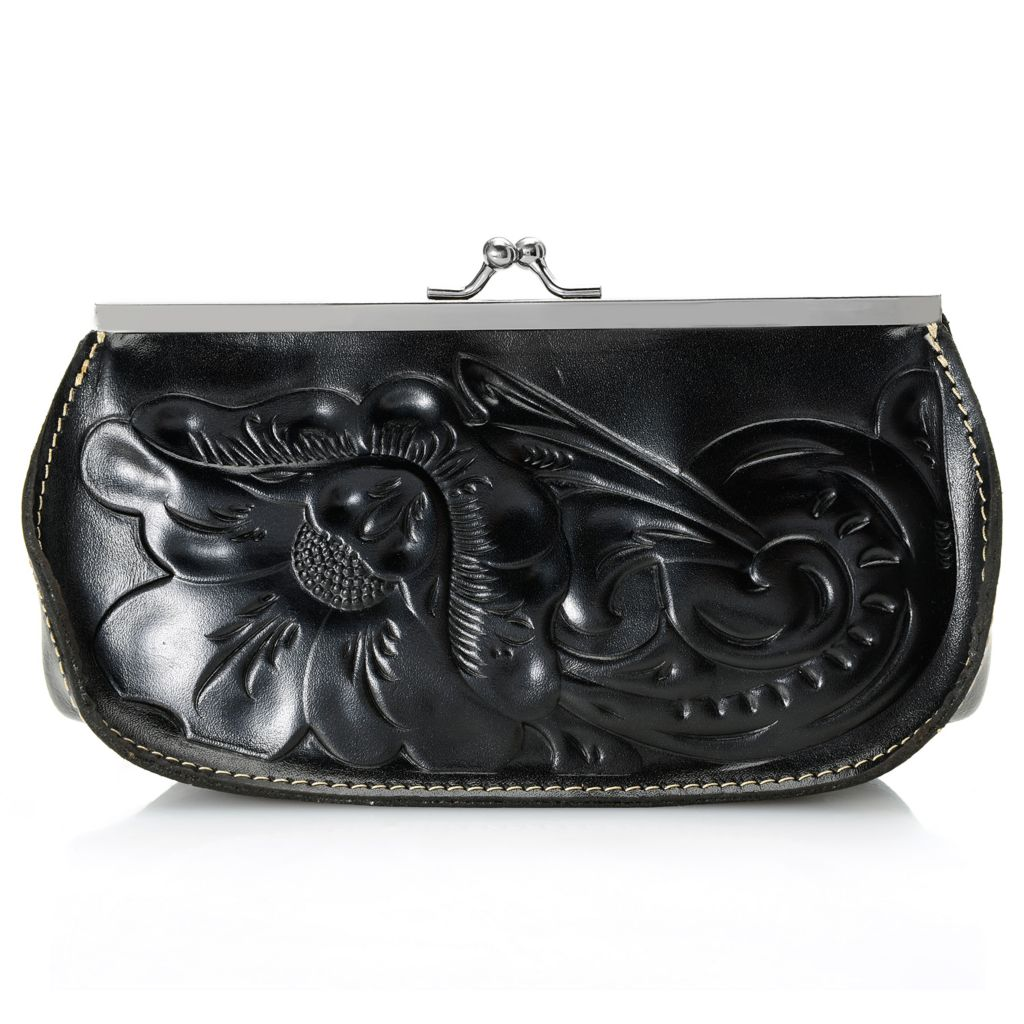 715-819 - Patricia Nash Tooled Leather Framed Kiss Lock Wallet