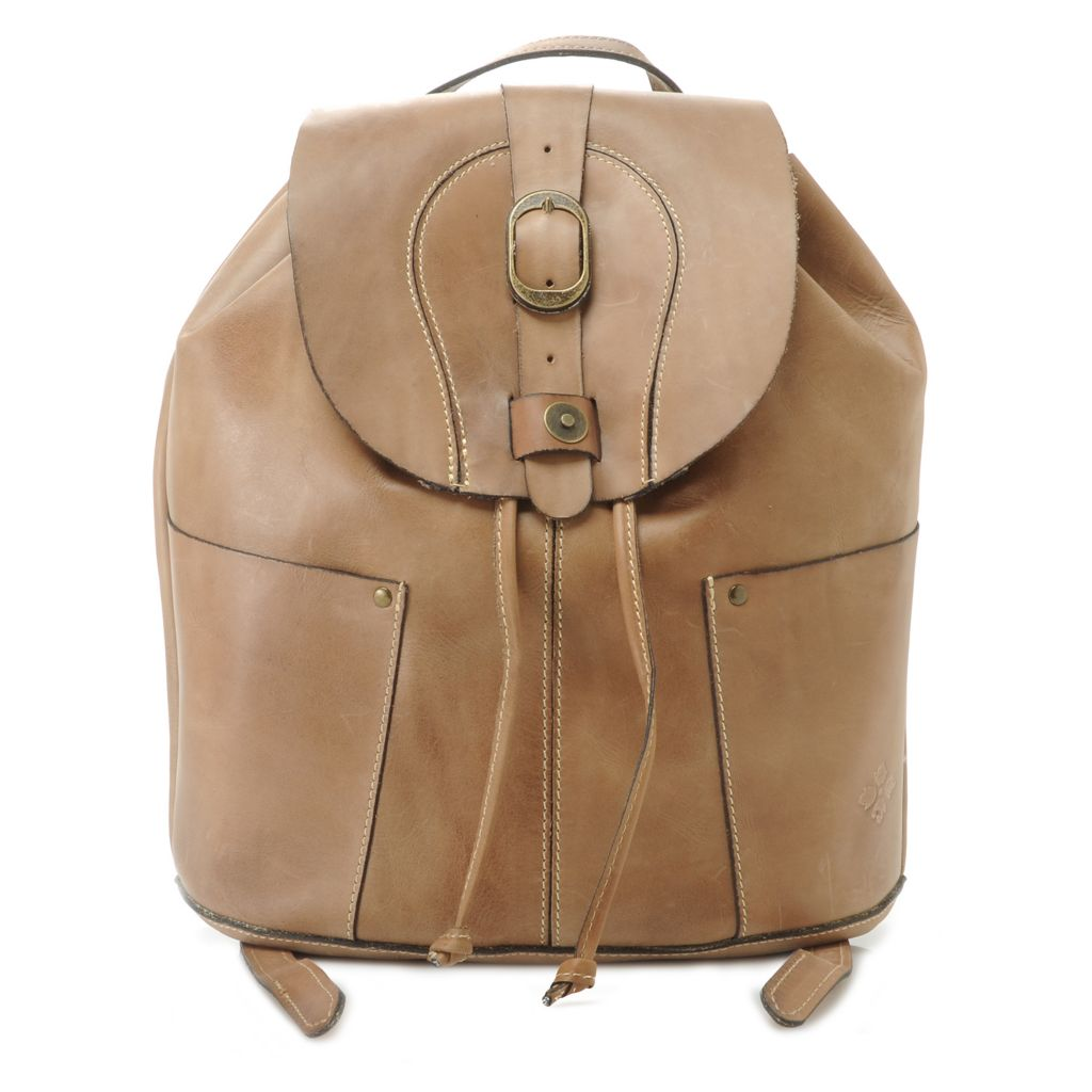 715-821 - Patricia Nash Smooth Leather Flap-over & Drawstring Backpack