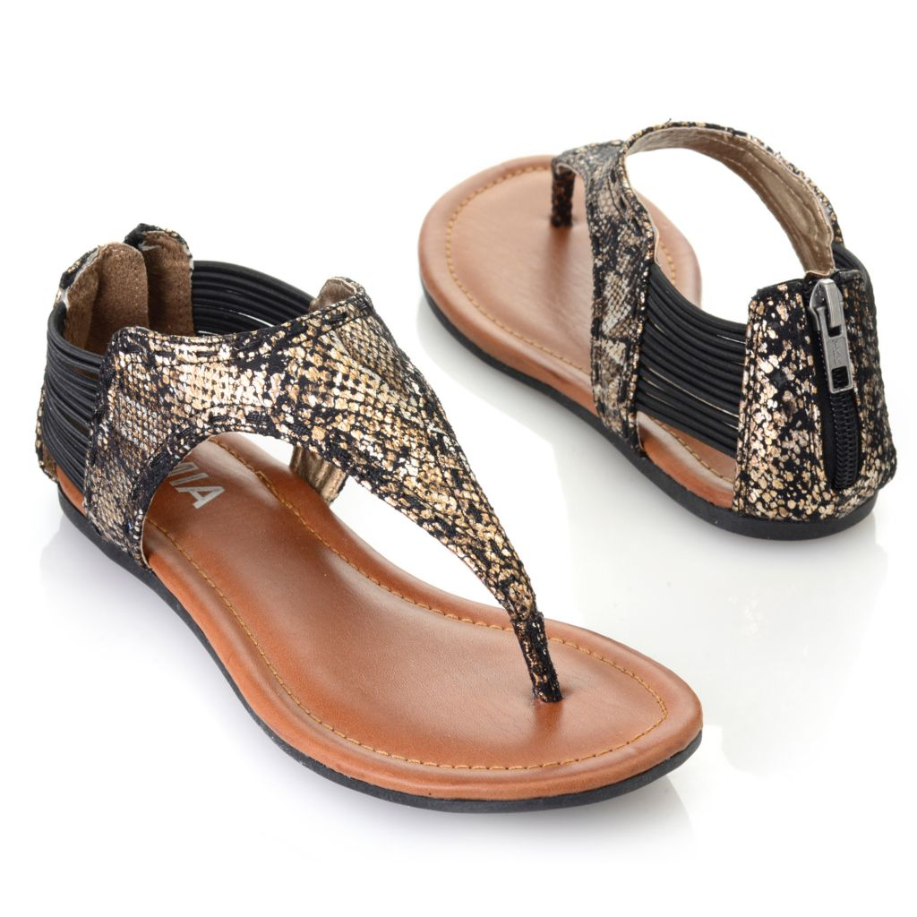 715-834 - MIA Metallic Reptile Embossed Back Zip Thong Sandals