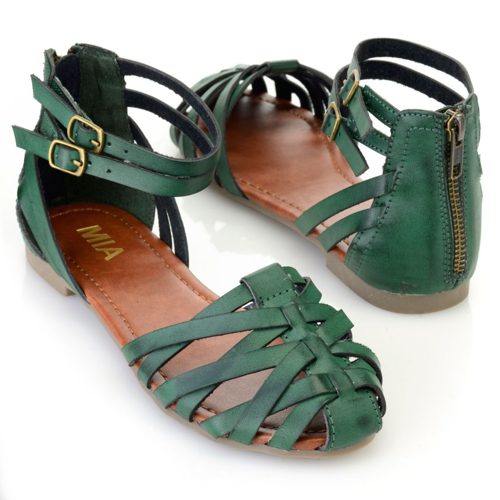 715-835 - MIA Crisscross Double Ankle Strap Back Zip Sandals
