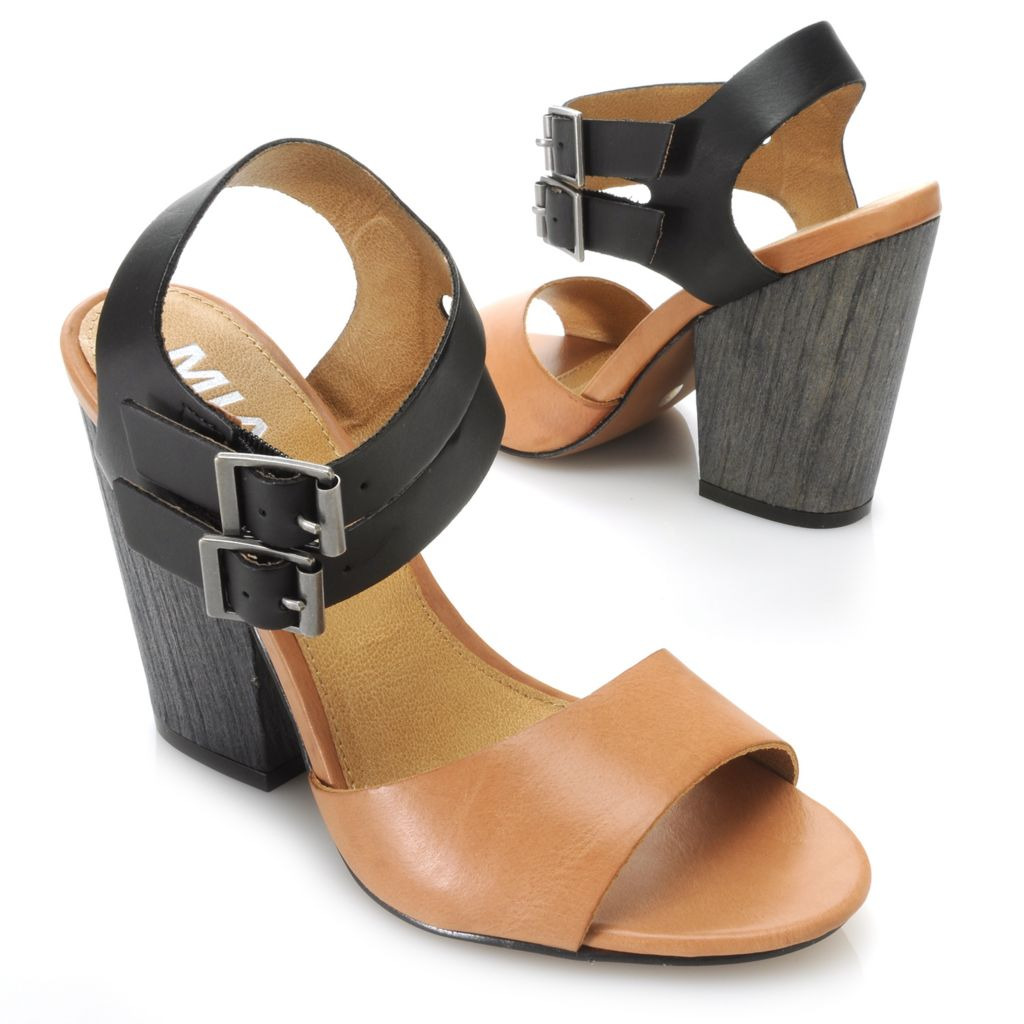 715-837 - MIA Double Ankle Strap Color Block Heels