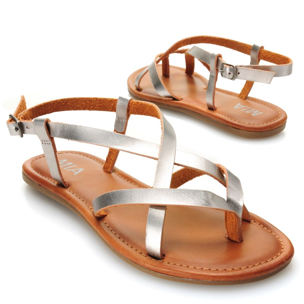 715-839 - MIA Metallic Crisscross Strap Sandals