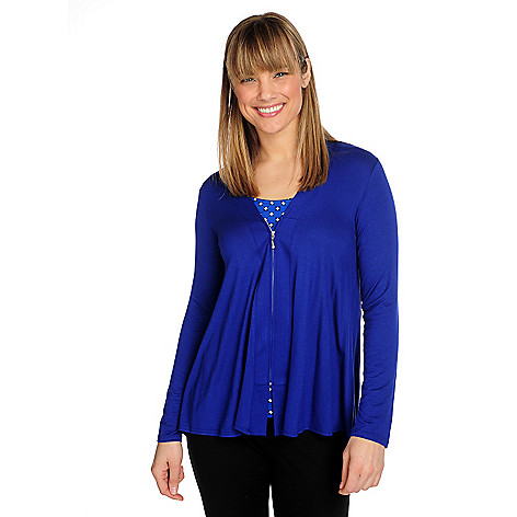 715-841 - Kate & Mallory® Stretch Knit Long Sleeved Zip Front Hi-Lo Cardigan